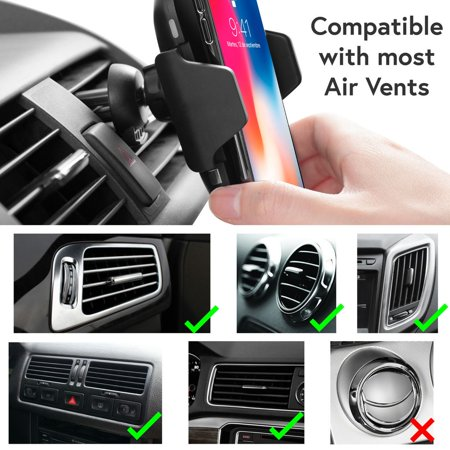 Wireless Car Charger Mount by Insten Motion Sensor Air Vent Phone Holder with Wireless Charging Pad and USB QC 3.0 Car Charger Power Adapter for iPhone X 8 Plus Samsung Galaxy S9 S9+ S8 LG G7 ThinQ - image 5 de 5