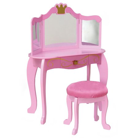 kidkraft pink princess bedroom vanity set 76125. Black Bedroom Furniture Sets. Home Design Ideas