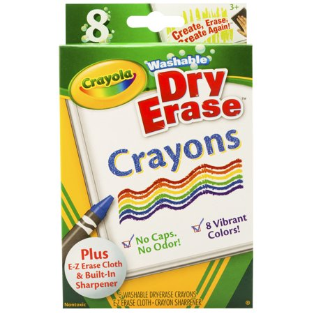 Crayola Dry Erase Washable Crayons, Vibrant Colors, 8 Per Box, Set Of 6 - Box Of Crayons