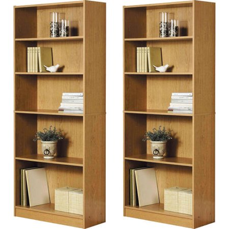 Orion Wide 5-Shelf Bookcase, Set of 2, (Mix and -