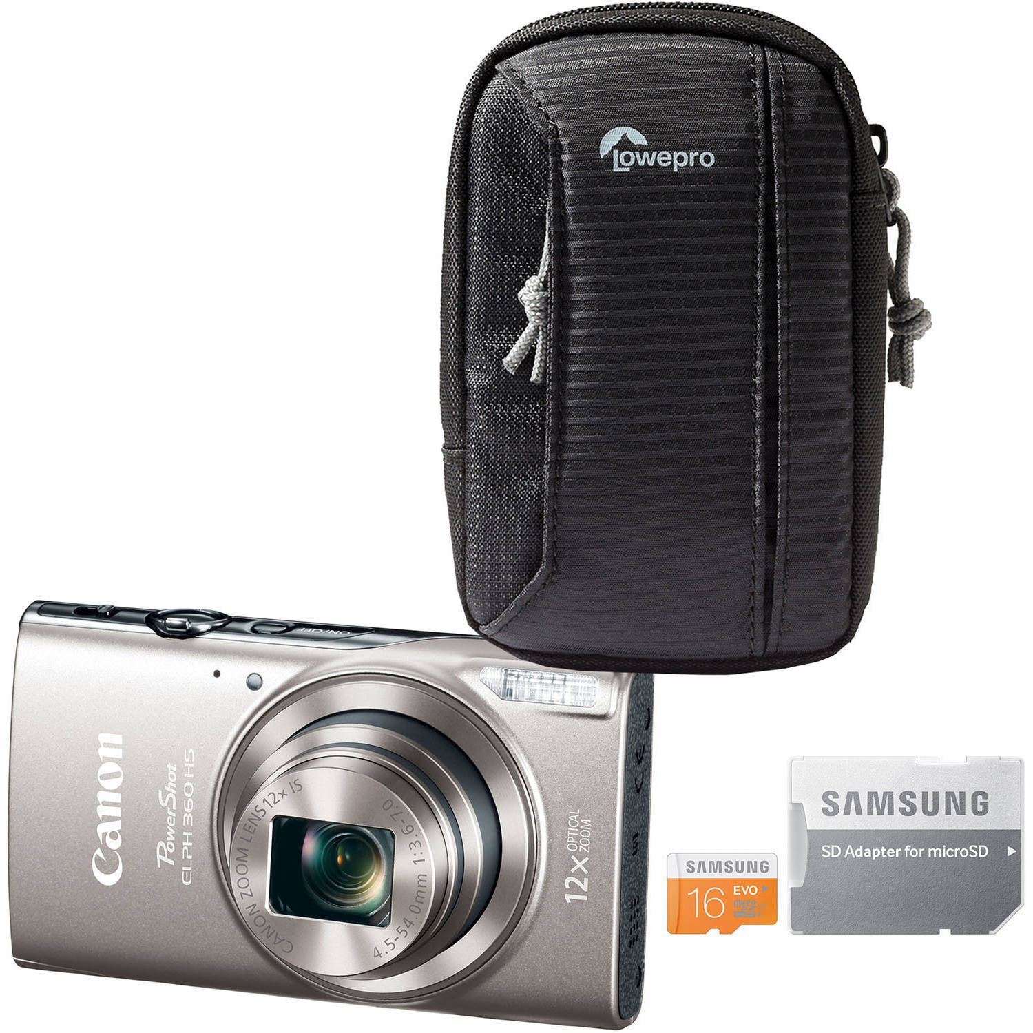 Canon PowerShot ELPH 360 HS Digital Camera Bundle with 20.2 Megapixels, 12x Optical Zoom, Tahoe 25 II Camera Pouch and 16GB microSD Card