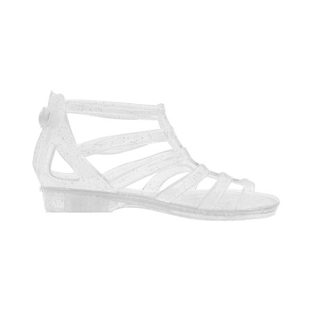 Baby Pink Sandals (Sara Z Girls Translucent Glitter Ankle Gladiator Jelly Sandals Turquoise Size 13/1)