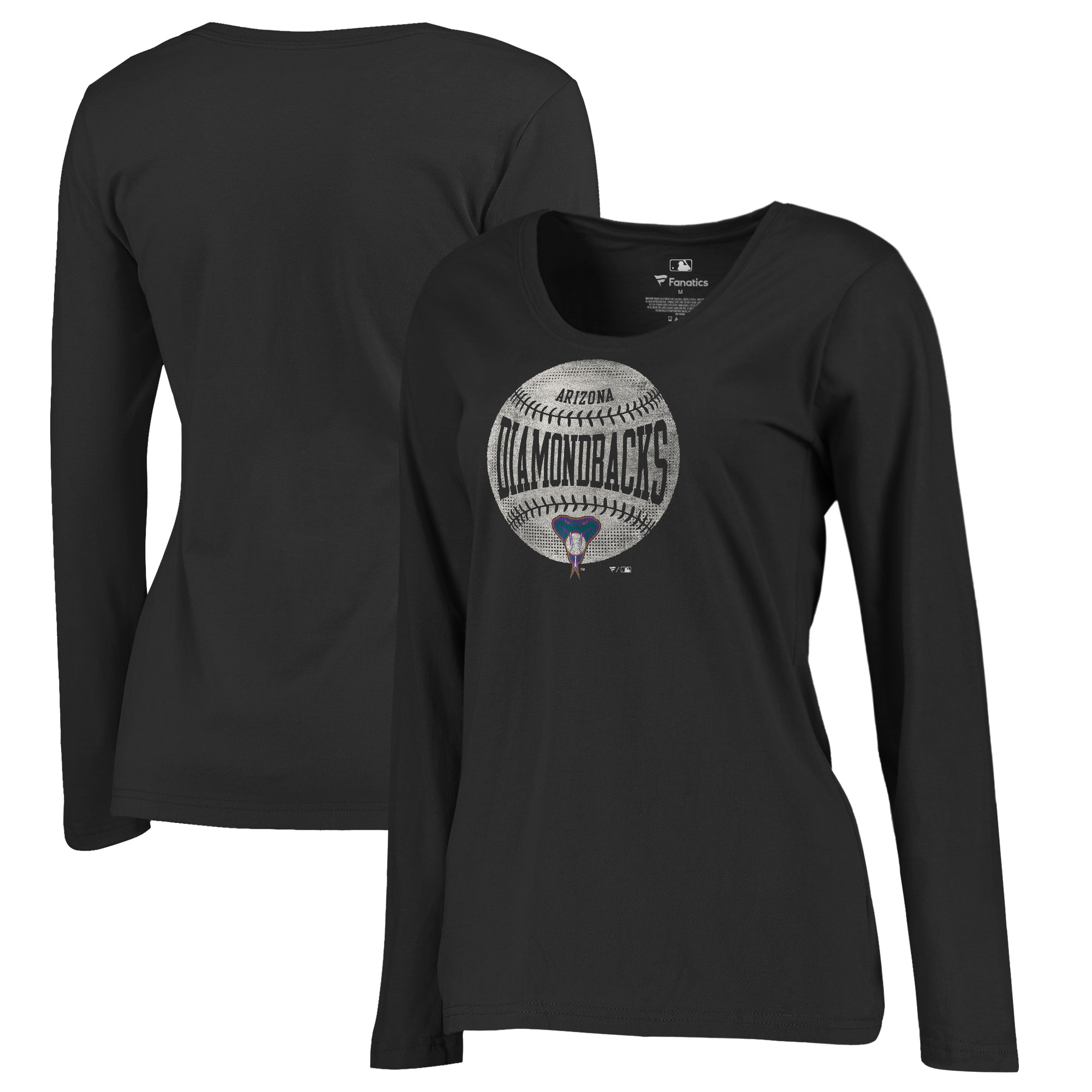 Arizona Diamondbacks Fanatics Branded Women's Cooperstown Collection Slider Plus Size Long Sleeve T-Shirt - Black