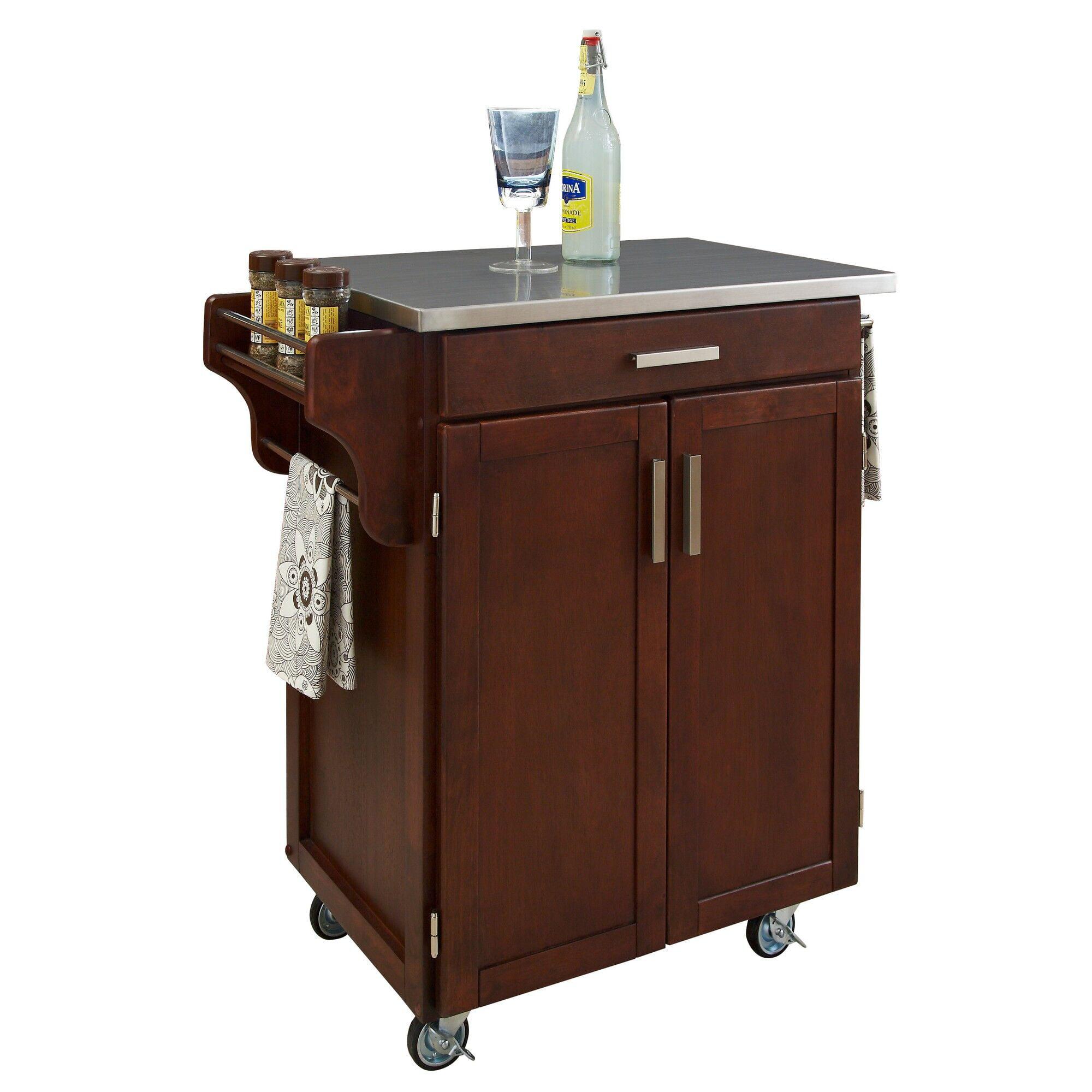 Home Styles Kitchen Cart Black Stainless Steel Top Walmart Com Walmart Com