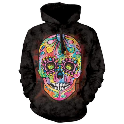The Mountain Black 100% Cotton Day Of The Dead Graphic Novelty Sweatshirt (XXL)