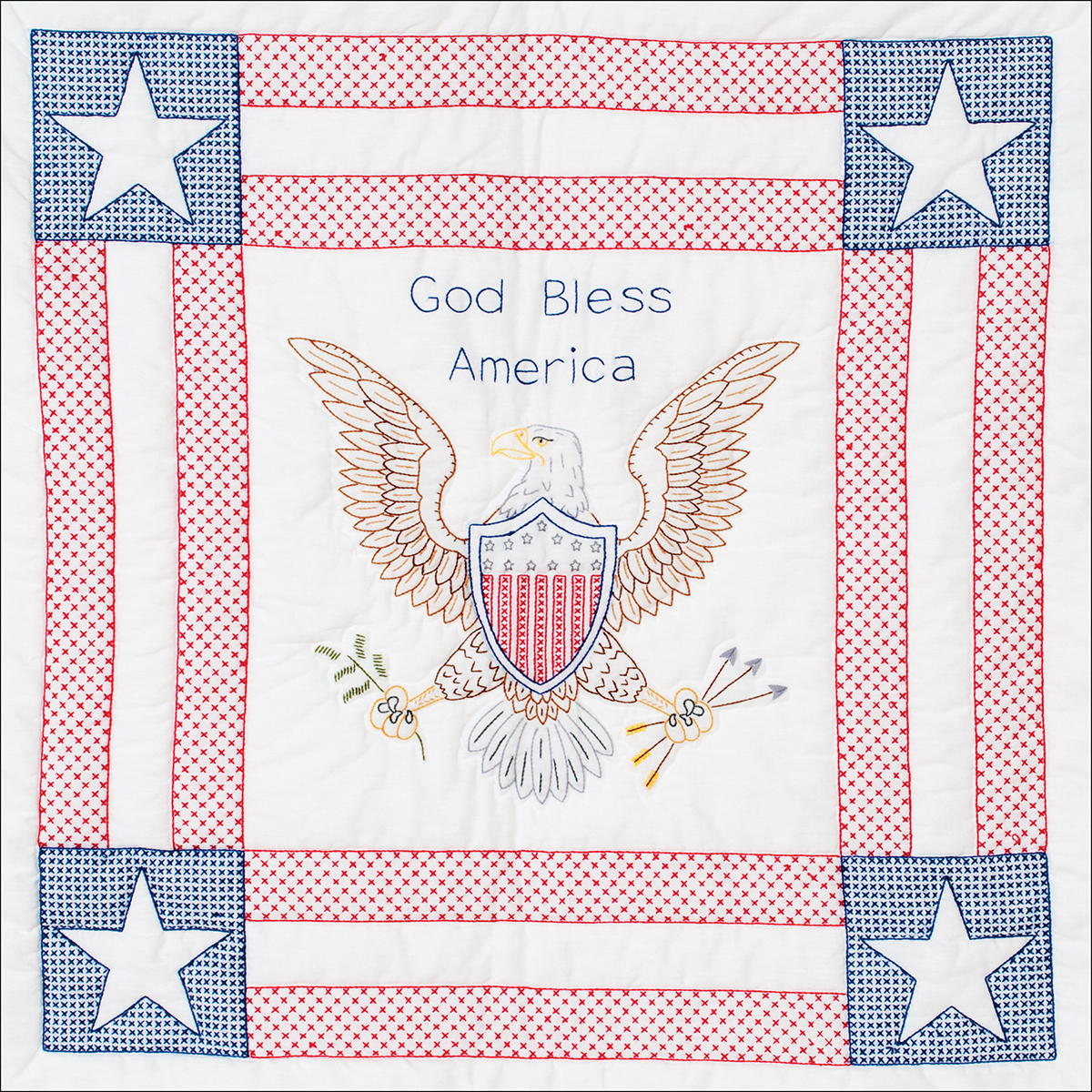 """Stamped White Wall Or Lap Quilt, 36"""" x 36"""", God Bless America"""