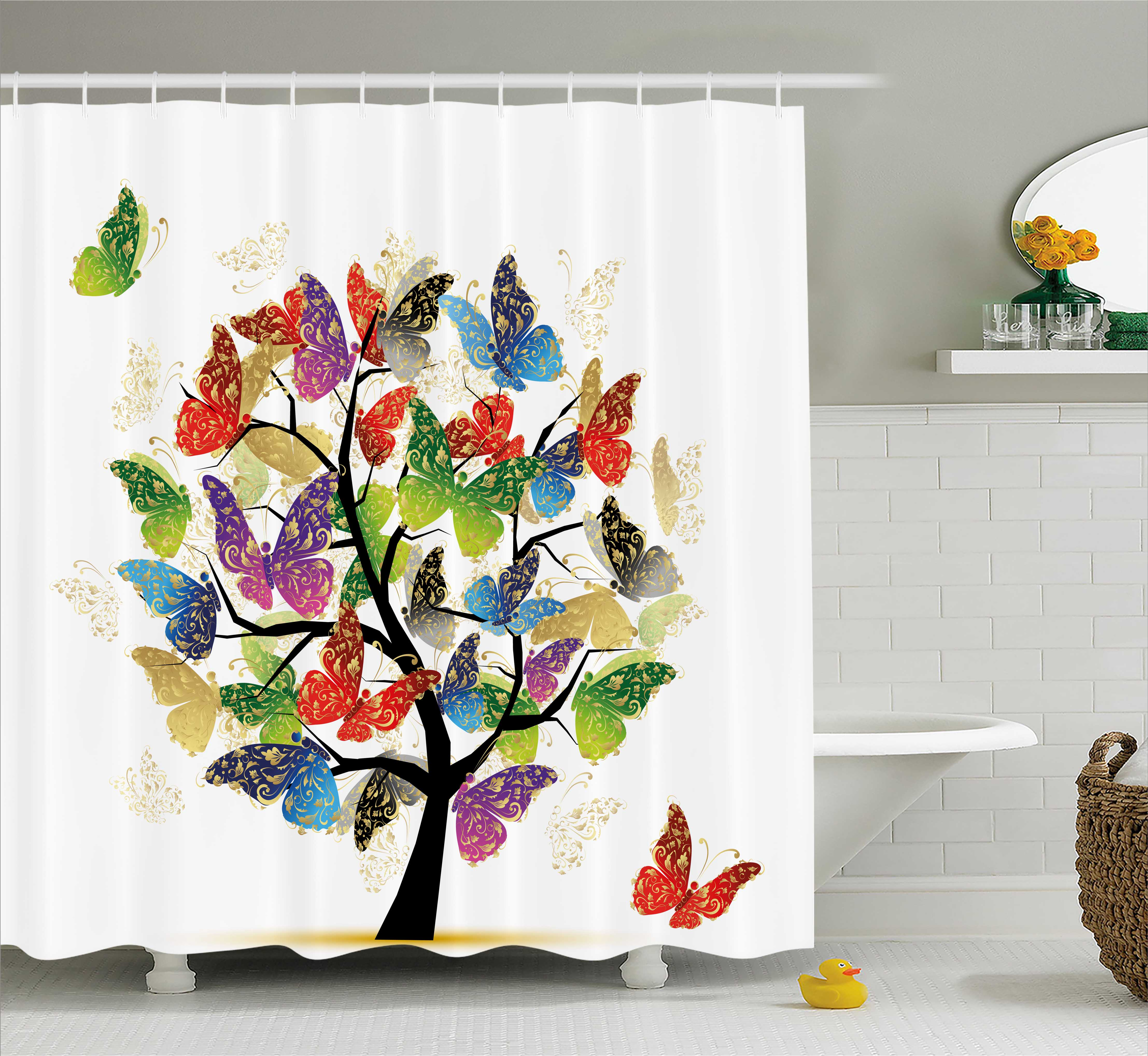Modern Decor Shower Curtain, Artistic Nature Tree with Floral Butterflies Leaves Vivid Vibrant Art Print, Fabric Bathroom Set with Hooks, 69W X 84L Inches Extra Long, Multicolor, by Ambesonne