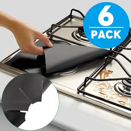 "Gas Range Protectors, TSV Burner Protector Liner Cover 6 Pack 10.6""x 10.6"" Reusable, Non-Stick, Dishwasher Safe, Easy to Clean"