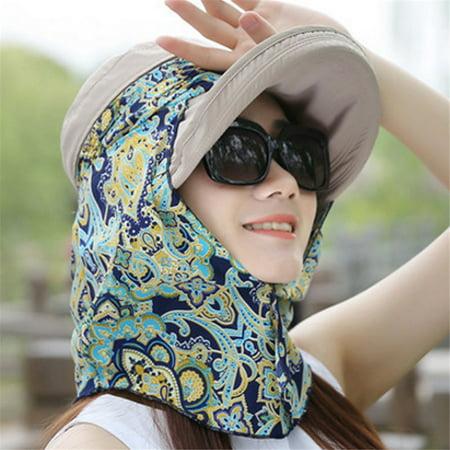 bocgsfdfgns - Beach Sun Visor Hat Removable Neck Flap Cover Foldable Sun UV  Protection Summer Hat Sun Flap Hat Cap for Women Girl(Khaki) - Walmart.com 996c902d255