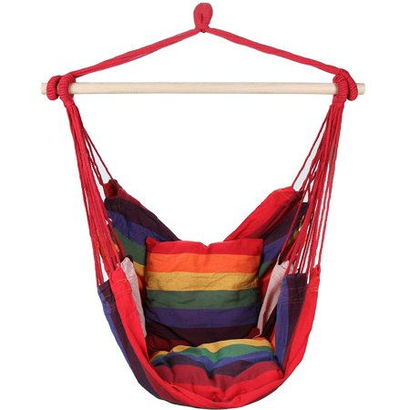 Swing Hanging Hammock Chair With Two Cushions (Red), This Popular Chair Hangs Anywhere By Mi Casa ()