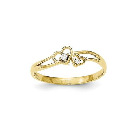 10K CZ Double Heart Ring 10k Double Heart Ring