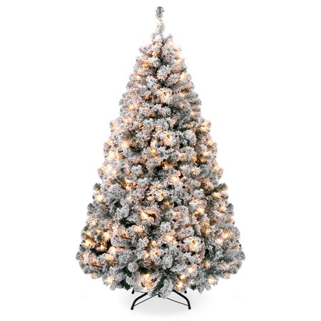 - Best Choice Products 6ft Premium Pre-Lit Snow Flocked Hinged Artificial Christmas Pine Tree Festive Holiday Decor w/ 250 Warm White Lights