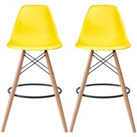 """2xhome Set of 2 Yellow 28"""" Seat Height Modern Plastic Style Bar Stool Barstool Counter Stools with backs and armless Natural Legs Wood Eiffel Legs Dowel-Leg"""