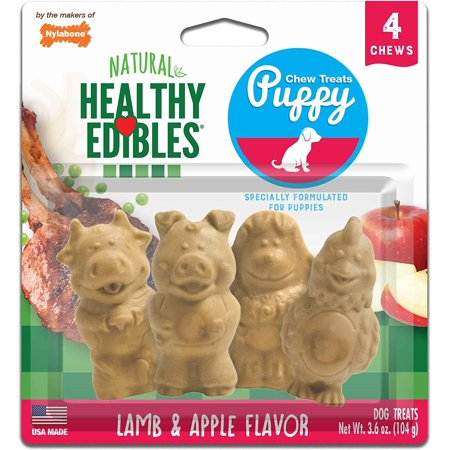 Nylabones Healthy Edibles Lamb and Apple Puppy Pals Chew Treats Variety Pack, 4 Chews Per Pack