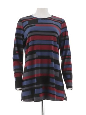 25c9d6d4497 Product Image Denim   Co Striped Jersey Round Neck Long Slv Tunic A298777