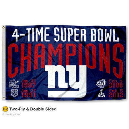 New York Giants 4 Time Super Bowl Champions Two Sided Flag