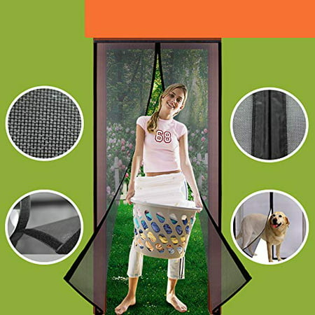 Instant Screen Door Magnets 36 x 83, Durable Fiberglass Door Mesh with Full Frame Hook&Loop for Back Door Fits Door Size up to 36