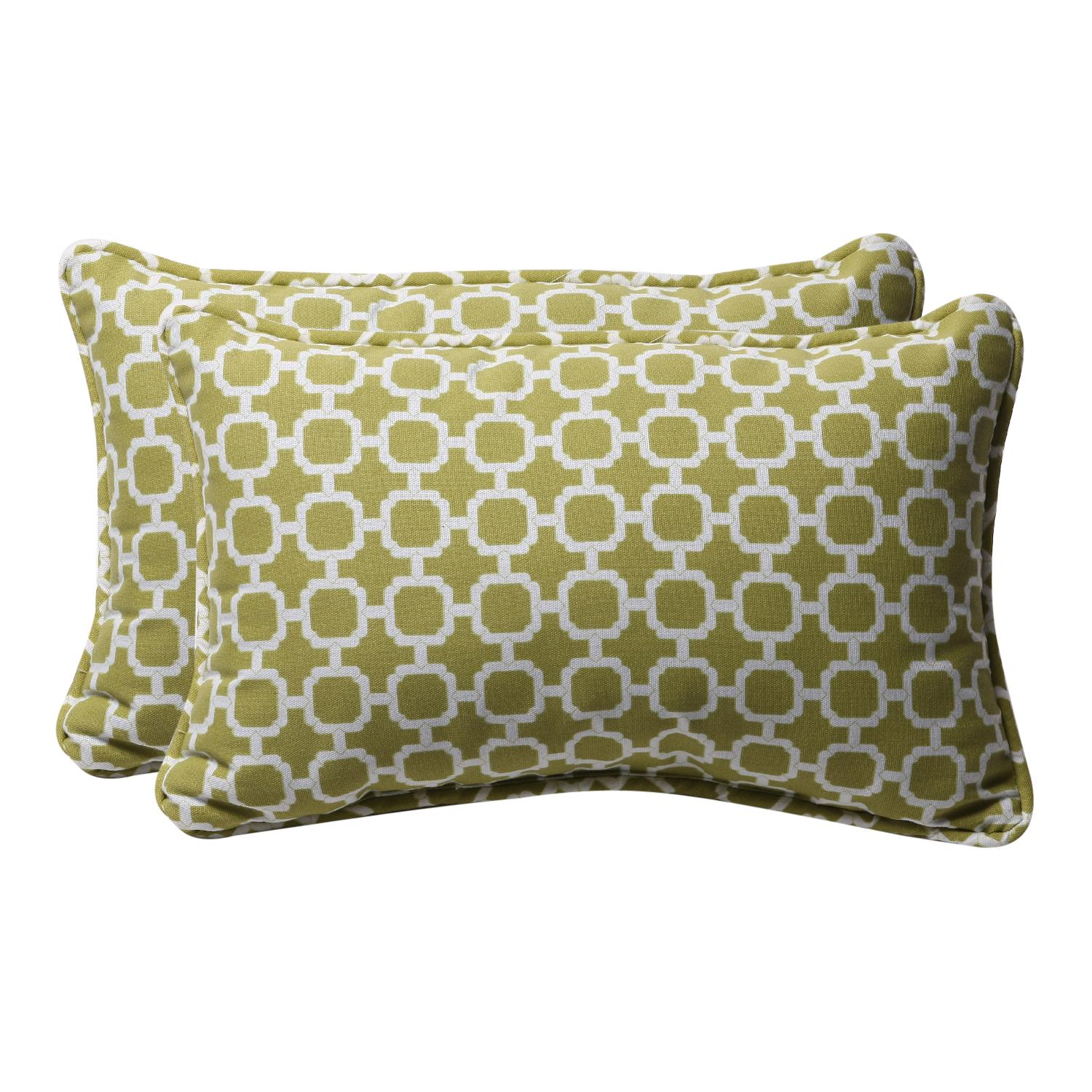 Pack of 2 Eco-Friendly Rectangular Lime Mosaic Outdoor Throw Pillows 18.5""