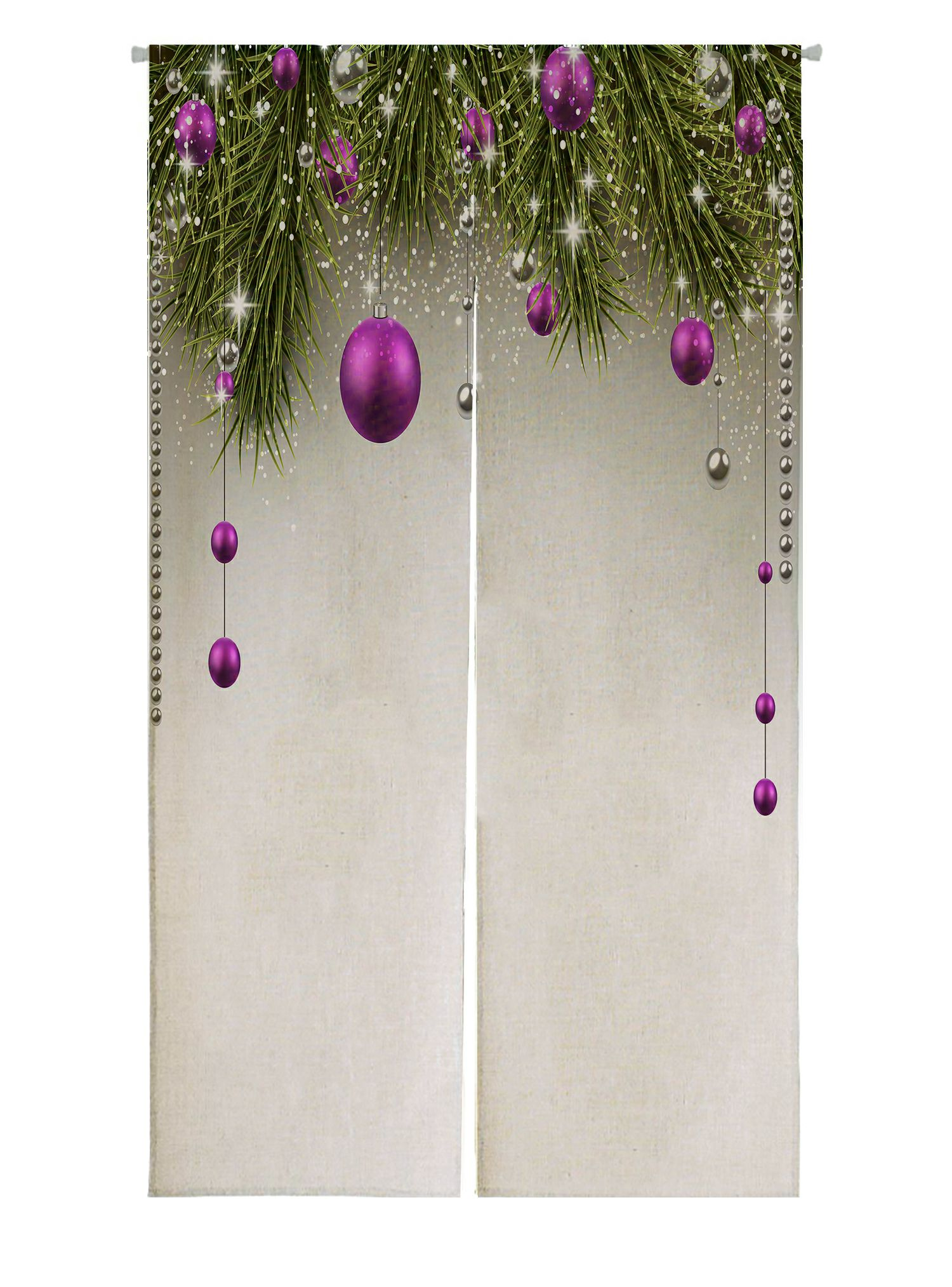 Abphqto Winter Spruce Twigs Purple Baubles Christmas Japanese Noren Curtain Doorway Door Window Treatment Curtains Cotton Linen Curtain 85x90 Cm Walmart Com Walmart Com