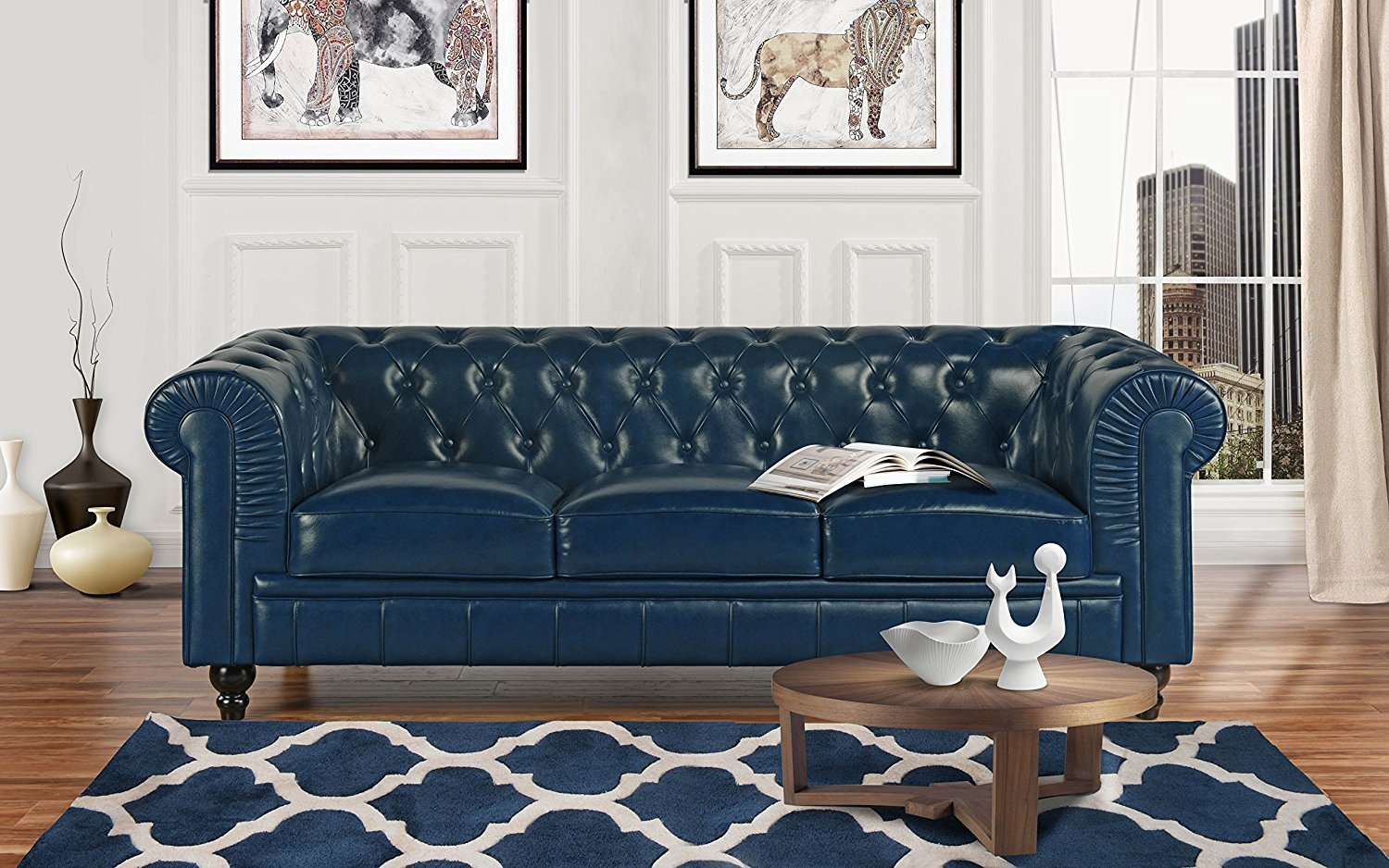 Classic Scroll Arm Real Leather Chesterfield Sofa (Blue)
