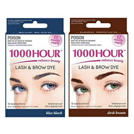 Combo Pack! 1000 Hour Eyelash & Brow Dye / Tint Kit Permanent Mascara (Blue Black & Dark