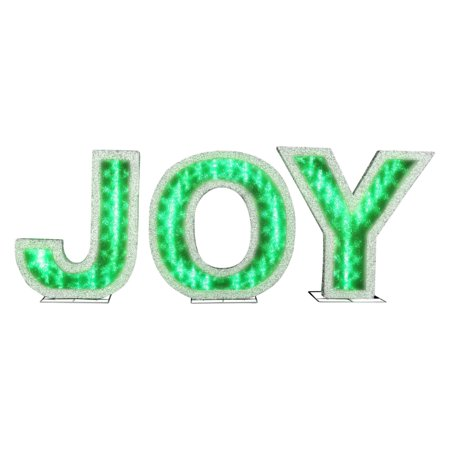 Gemmy 19 in lights shadow box joy lighted display for Lighted letters joy