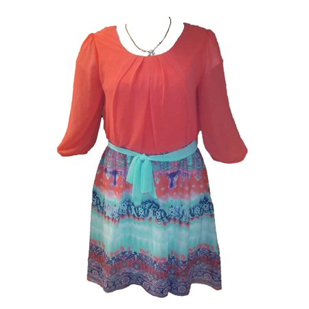 IZ Byer Girl 3/4 Length Sleeves Dress Coral/Mint W Necklace