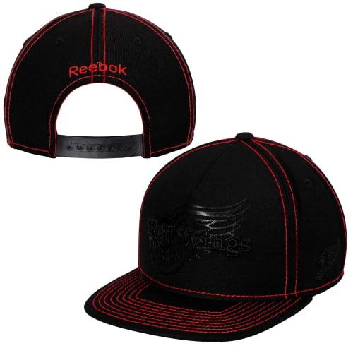 Detroit Red Wings Reebok Cross Check Snapback Hat - Black - OSFA