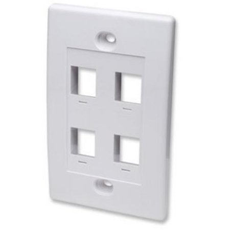 Intellinet Network Solutions 163316 Single Gang Keystone Wall Plate  4 Outlet  White