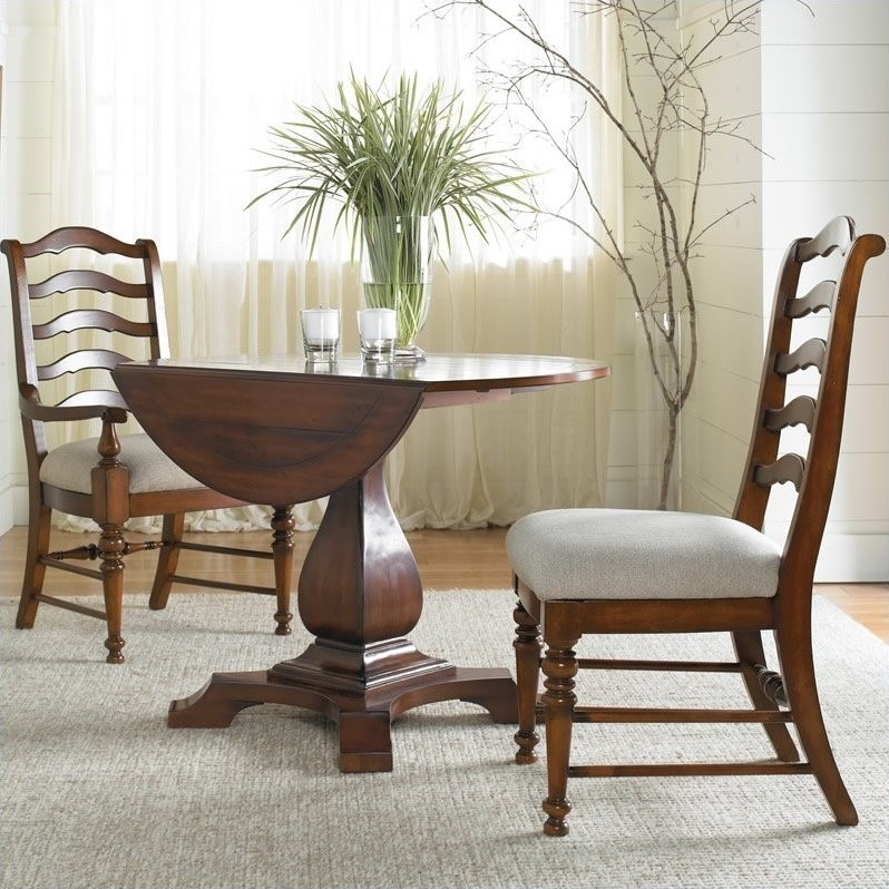 Beaumont Lane Round Drop Leaf Pedestal Dining Table by Beaumont Lane