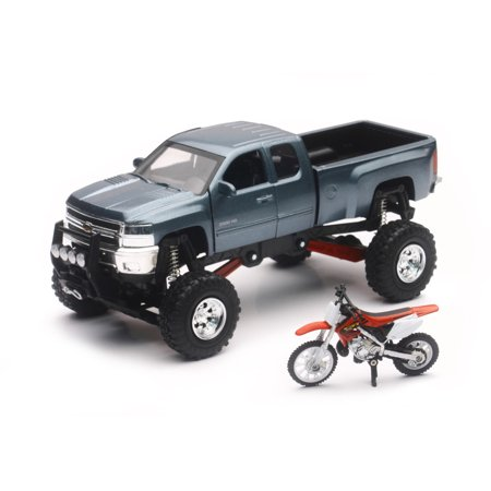 New Ray Toys Grey Chevy Silverado 4x4 & Honda Dirt Bike SS-54426