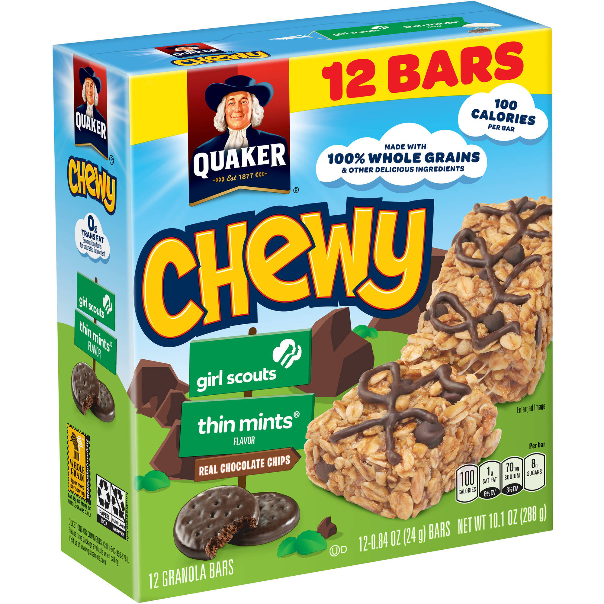 Quaker Chewy Girl Scouts Thin Mints Granola Bars, 0.84 oz, 12 count