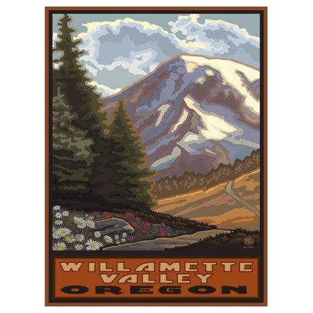 "Willamette Valley Oregon Springtime Mountains Travel Art Print Poster by Paul A. Lanquist (9"" x 12"")"