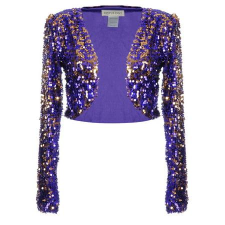 Anna-Kaci Womens Shiny Sequin Long Sleeve Glitter Cropped Blazer Bolero Shrug, Mermaid, - 100% Linen Blazer