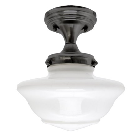 Design House 577502 Schoolhouse Semi-Flush Ceiling Light, Opal Glass, Oil Rubbed Bronze
