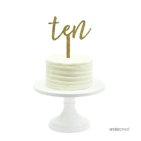 Gold Glitter Script Number Ten Acrylic Birthday Cake Topper