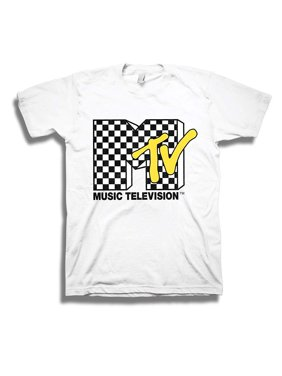 Mens MTV Shirt with Checkerboard - #TBT Mens 1980's Clothing - I Want My MTV T-Shirt  (White, Small)