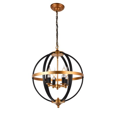 JL Styles Inc JLS10608 Cronus 4-light pendant, Bronze and French Gold finish - French Gold Drain Finish