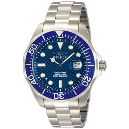 12563 Men's Grand Diver Blue Carbon Fiber Dial Blue Bezel Stainless Steel Bracelet Dive -