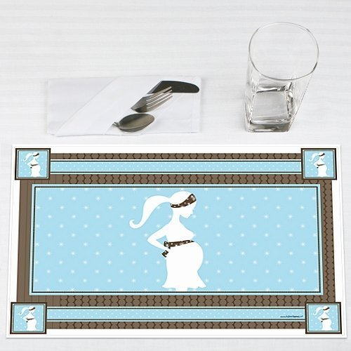 Mommy-To-Be Silhouette It's A Boy Baby Shower Placemats Set of 12 by Big Dot of Happiness, LLC
