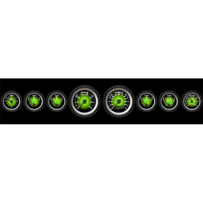 Aurora Instruments 5534 Assembled Speedometer Gauge - Pulsar Series - Green Face, Black Modern Needles, Black Bezels