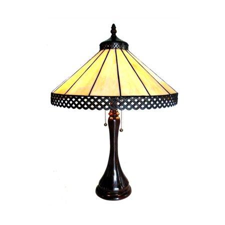 Chloe Tiffany Style Mission Design 2-light Antique Bronze Table Lamp Yellow