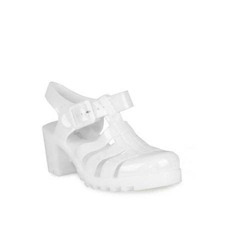 Nature Breeze Caged Jelly Block Heels Women's Sandals in White](White Jelly)