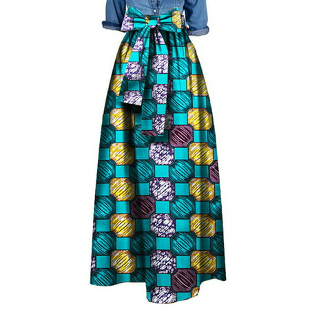 Hippie Print Skirt (Women African Printed Long Skirts Plus)