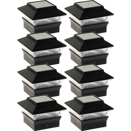 NEW Black Solar Outdoor Garden Deck Patio 4x4 PVC Fence LED Post Light (8 Pack) ()