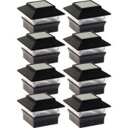 NEW Black Solar Outdoor Garden Deck Patio 4x4 PVC Fence LED Post Light (8 Pack)