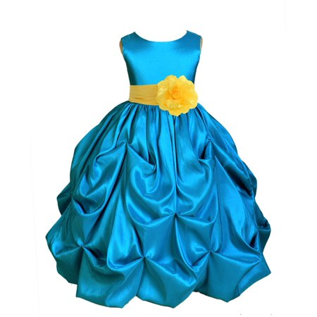 Ekidsbridal Taffeta Bubble Pick-up Turquoise Blue Flower Girl Dress Weddings Summer Easter Special Occasions Pageant Toddler Birthday Party Holiday Bridal Baptism Junior Bridesmaid Communion 301S (Peacock Outfit)