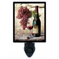 Night Light, Photo Night Light, Vin Rouge Riche, Wine Grapes, Kitchen plus FREE Switchable Insert
