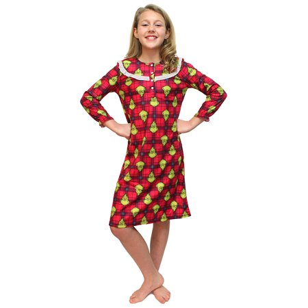 Grinch Stole Christmas Flannel - Intimo Girls' Dr Seuss How the Grinch Stole Christmas Flannel Nightgown
