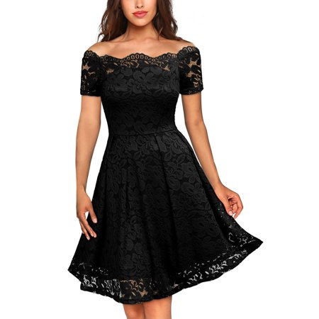 MIUSOL Women's Floral Lace Cold Shoulder Evening Party Summer Dress with Short Sleeve Black Turtleneck Short Sleeve Dress